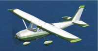 Screenshot of Green/White Cessna C182 Skylane in flight.