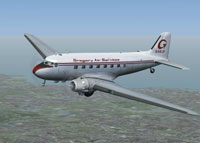 Screenshot of Gregory Air Services Douglas DC-3 in flight.