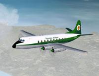 Screenshot of Guernsey Airlines Viscount 735 in flight.