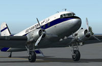 Clse up of Gulf Air Douglas DC-3 on the ground.