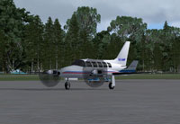 Screenshot of Gulfstream Connect Piper PA-31 Navajo on the ground.