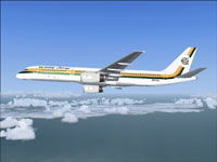 Screenshot of Guyana Airways Boeing 757-200 in flight.