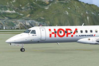 Screenshot of HOP! Embraer ERJ 145 on the ground.