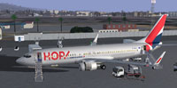 Screenshot of HOP Boeing 737-800 on the ground.