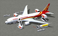 Screenshot of Hainan Airlines Boeing 787-8 and ground services.
