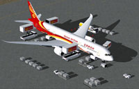 Screenshot of Hainan Airlines Boeing 787-9 with ground services.