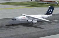 Screenshot of Hamburg Airlines BAe 146-200 on runway.