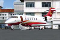 Screenshot of Hanhwa Bombardier Challenger 300 on the ground.