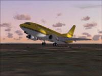Screenshot of Hapag-Lloyd Express Boeing 737-500 in flight.