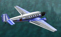 Screenshot of Heather Aviation Ltd. Junkers Ju52 flying over the water.