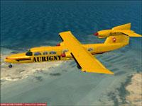 Screenshot Trislander flying over the coast.