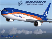 Screenshot of HollandExel Boeing 737-31A/ER in flight.