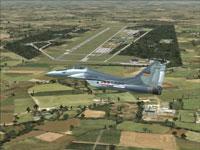 Screenshot of jet flying over Holzdorf Aair Base.