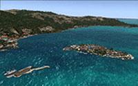 Aerial view of Honduras Islands scenery.