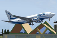 Screenshot of Hopper Air Boeing 737-600 taking off.