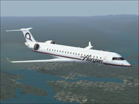 Screenshot of Horizon Air CRJ700-ER in flight.