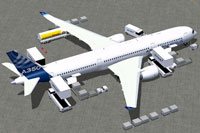 Screenshot of House Colors Airbus A350-900 with ground services.