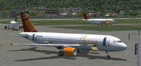 Screenshot of ISAAN AIR Airbus A320-200 on the ground.