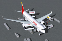 Screenshot of Iberia Airbus A350-900 and ground services.