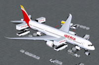 Screenshot of Iberia Boeing 787-9 and ground services.