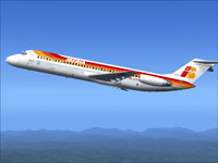 Screenshot of Iberia Douglas DC-9-30 in flight.