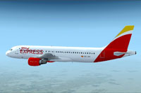 Screenshot of Iberia Express Airbus A320-200 in new colors.