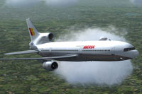 Screenshot of Iberia Lockheed L-1011 TriStar in flight.