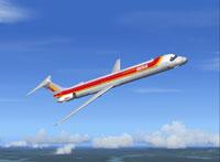 Screenshot of Iberia McDonnell Douglas MD-83 in flight.