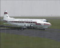 Screenshot of Icelandair Viscount 759 taxiing to runway.