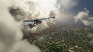 Icon A5 high in the clouds in Microsoft's new simulator.