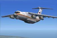Screenshot of Ilyushin Il-76TD in the air.