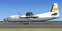 Profile view of Indonesian Air Force Fokker F27 on runway.