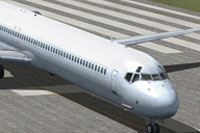 Screenshot of Insel Air McDonnell Douglas MD-82 on runway.