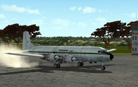 Screenshot of Interandina Colombia DC-6 on the ground.