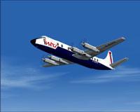 Screenshot of Intra Airways Vickers Viscount 814 in flight.