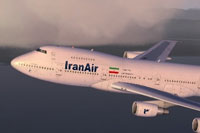 Screenshot of Iran Air Boeing 747-200 in flight.
