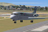 Screenshot of  Iran Air Fokker 100 taking off.