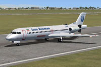 Screenshot of Iran Aseman Airlines Fokker 100 on runway.