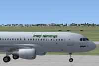 Screenshot of Iraqi Airways Airbus on the ground.
