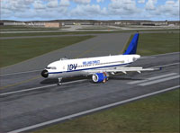 Screenshot of Ireland Direct A320-200 on runway.