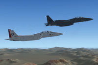 Screenshot of two F-15E Eagles in flight.