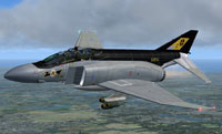 Screenshot of grey and black Phantom in flight.
