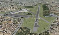 Aerial shot of runway 30 at Islamabad International Airport.