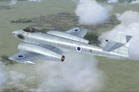 Screenshot of Israeli Gloster Meteor FR9 in flight.