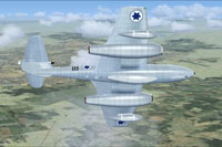 Screenshot of Israeli Gloster Meteor T7 in flight.