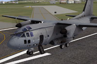 Screenshot of Italian Air Force C-27J Spartan on runway.