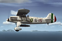 Screenshot of Italian Air Force Heinkel He 51 in flight.