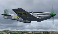 "Screenshot of J26 Mustang ""Swedish AF Green K"" in flight."