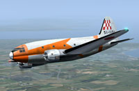 Screenshot of JASDF Curtiss C-46A Commando in flight.
