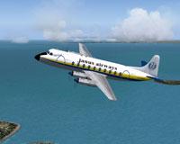 Screenshot of Janus Airways Viscount 708 in flight.